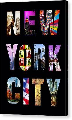 New York City Text 1 Canvas Print by Az Jackson