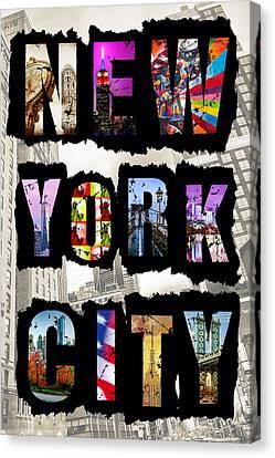 New York City Text 2 Canvas Print by Az Jackson