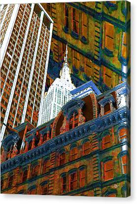 New York City Up Is Down Down Is Up Orange Canvas Print by Tony Rubino