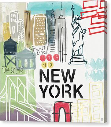New York Cityscape- Art By Linda Woods Canvas Print by Linda Woods