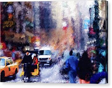 New York Hustle And Bustle Canvas Print by Georgiana Romanovna
