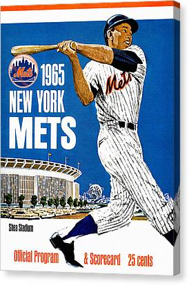 New York Mets 1965 Official Program Canvas Print by Big 88 Artworks