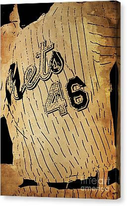 New York Mets 46 Red And Blue Vintage Cards On Brown Background Canvas Print by Pablo Franchi