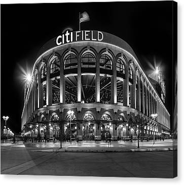 New York Mets Citi Field Bw Canvas Print by Susan Candelario