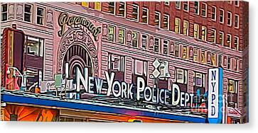 New York Police At Paramount Canvas Print by Terry Weaver