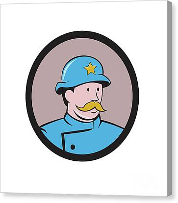 New York Policeman Vintage Circle Cartoon Canvas Print by Aloysius Patrimonio