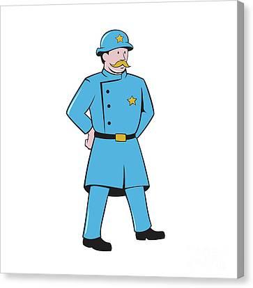 New York Policeman Vintage Standing Cartoon Canvas Print by Aloysius Patrimonio