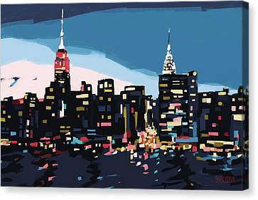 New York Skyline At Dusk In Navy Blue Teal And Pink Canvas Print by Beverly Brown Prints