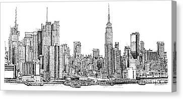 New York Skyline In Ink Canvas Print by Adendorff Design