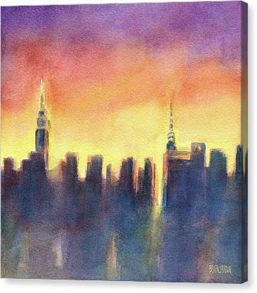 New York Sunset After The Rain Canvas Print by Beverly Brown