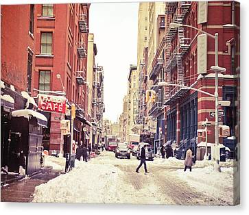 New York Winter - Snowy Street In Soho Canvas Print by Vivienne Gucwa