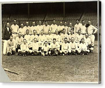 New York Yankees Baseball Team Posed Canvas Print by Pg Reproductions