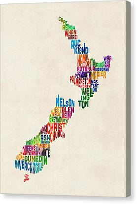 New Zealand Typography Text Map Canvas Print by Michael Tompsett