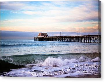 Newport Beach Ca Pier At Sunrise Canvas Print by Paul Velgos
