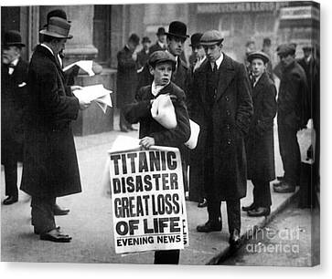 Newsboy Ned Parfett Announcing The Sinking Of The Titanic Canvas Print by English School