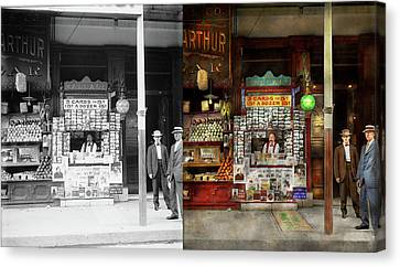 Newsstand - Standing Room Only 1908 - Side By Side Canvas Print by Mike Savad