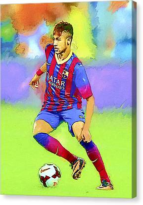 Neymar Football Soccer Landscape Art Painting Canvas Print by Andres Ramos