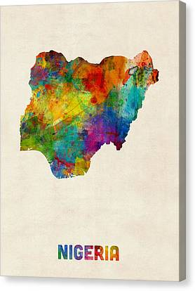 Nigeria Watercolor Map Canvas Print by Michael Tompsett