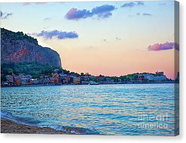Night Falling Over Sicily Canvas Print by Madeline Ellis