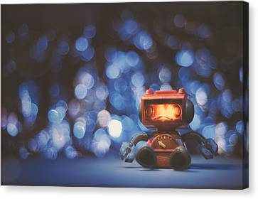 Night Falls On The Lonely Robot Canvas Print by Scott Norris