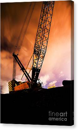 Night Infrastructure Building Construction Canvas Print by Jorgo Photography - Wall Art Gallery