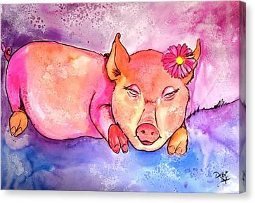 Night Night Little Piggy Canvas Print by Debi Starr