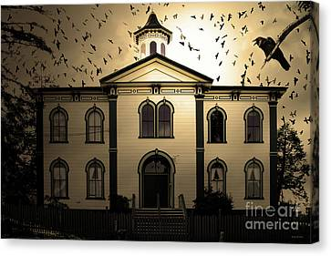Night Of The Birds . Sepia . 7d12487 Canvas Print by Wingsdomain Art and Photography