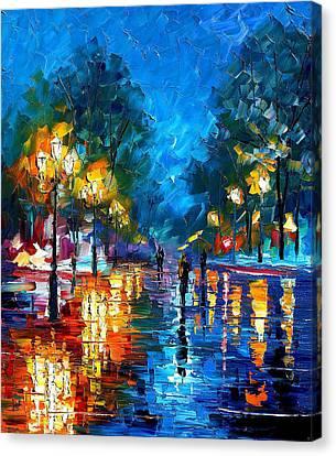 Night Park 2 - Palette Knife Oil Painting On Canvas By Leonid Afremov Canvas Print by Leonid Afremov