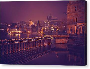 Night Prague Canvas Print by Jenny Rainbow