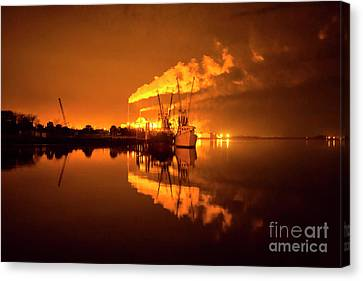Night Reflections Of A Paper Mill Canvas Print by Felix Lai