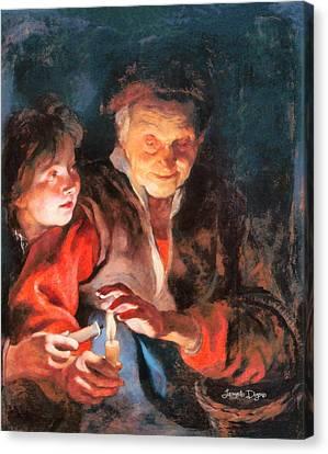 Night Scene Revisited - Da Canvas Print by Leonardo Digenio