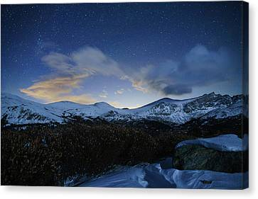 Night Sky Over Bierstadt Mountain Canvas Print by Daniel Lowe