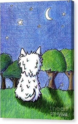 Night Sky Westie Canvas Print by Kim Niles
