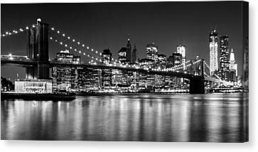 Night Skyline Manhattan Brooklyn Bridge Bw Canvas Print by Melanie Viola