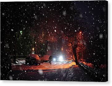 Night Street. Snowy Days In Moscow Canvas Print by Jenny Rainbow