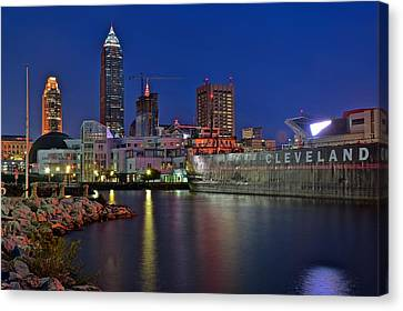 Night Time On Clevelands Lakefront Canvas Print by Frozen in Time Fine Art Photography