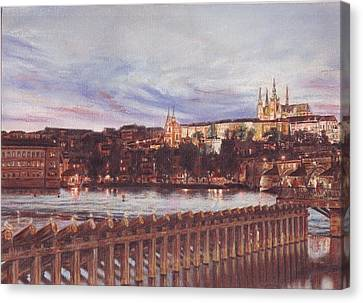 Night View Of Charles Bridge And Prague Castle Canvas Print by Gordana Dokic Segedin