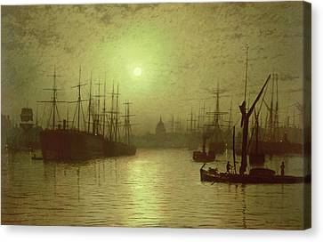 John Atkinson Grimshaw Canvas Print featuring the painting Nightfall Down The Thames by John Atkinson Grimshaw