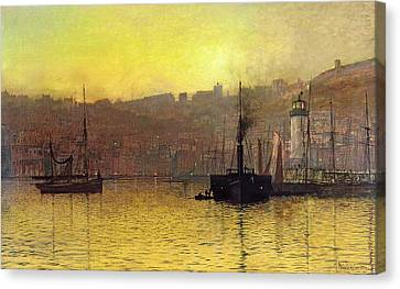 John Atkinson Grimshaw Canvas Print featuring the painting Nightfall In Scarborough Harbour by John Atkinson Grimshaw