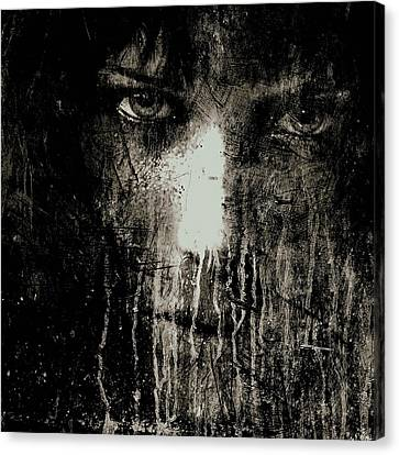 Nights Eyes Black And White Canvas Print by Marian Voicu