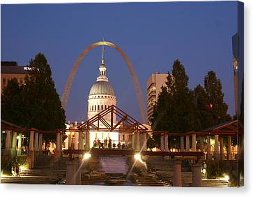 Nighttime At The Arch Canvas Print by Marty Koch