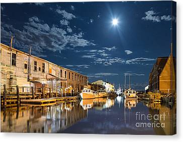 Nighttime On The Old Port Waterfront Canvas Print by Benjamin Williamson