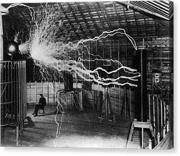 Nikola Tesla - Bolts Of Electricity Canvas Print by War Is Hell Store