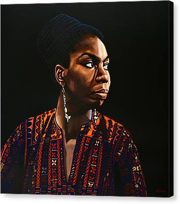 Nina Simone Painting Canvas Print by Paul Meijering