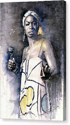 Nina Simone Canvas Print by Yuriy  Shevchuk