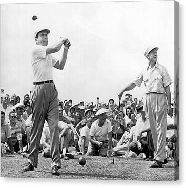 Nixon Tees Off Canvas Print by Underwood Archives