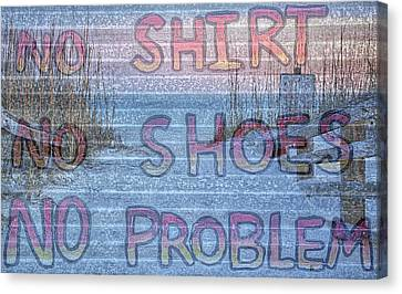No Shirt No Shoes No Problem Panama City Beach Canvas Print by JC Findley