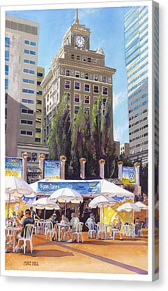 Noon Tunes Pioneer Square Canvas Print by Mike Hill