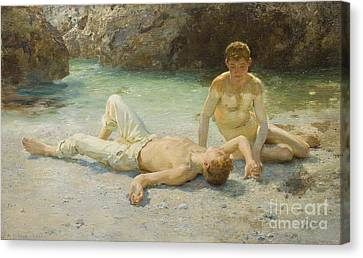 Noonday Heat Canvas Print by Henry Scott Tuke