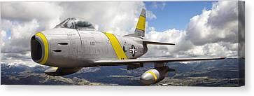 North American F-86 Sabre Canvas Print by Larry McManus